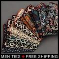 Mens Cotton & Polyester Handkerchief Floral Leopard Printed Pocket Square Wedding 22cm*22cm Hankies For Men Brand Pocket Towel
