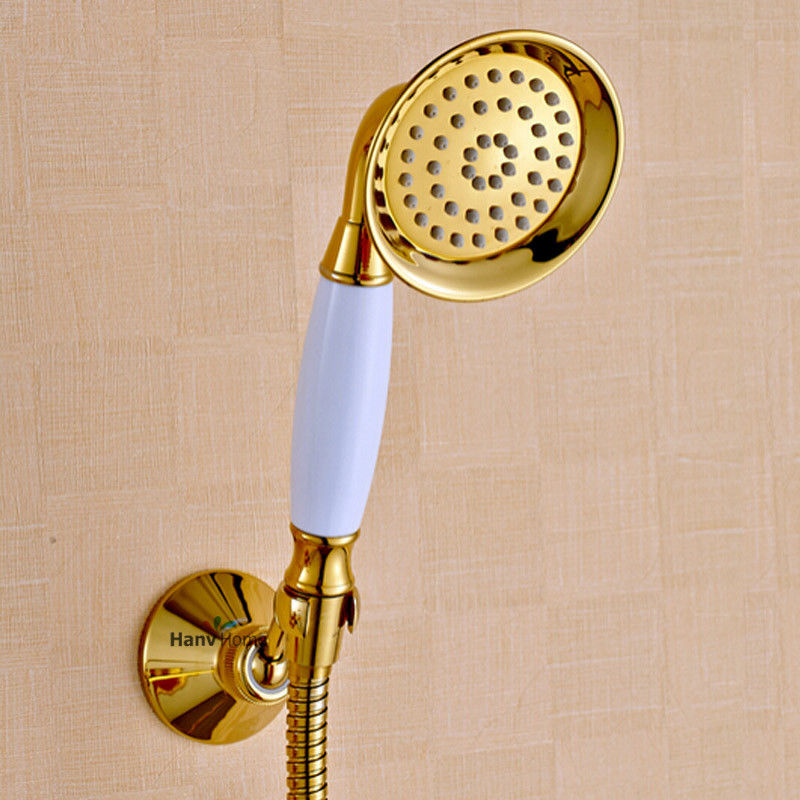 Gold Shower Head Handheld Telephone Style Rainfall U0026 Brass Holder And 1.5m  Hose Set,