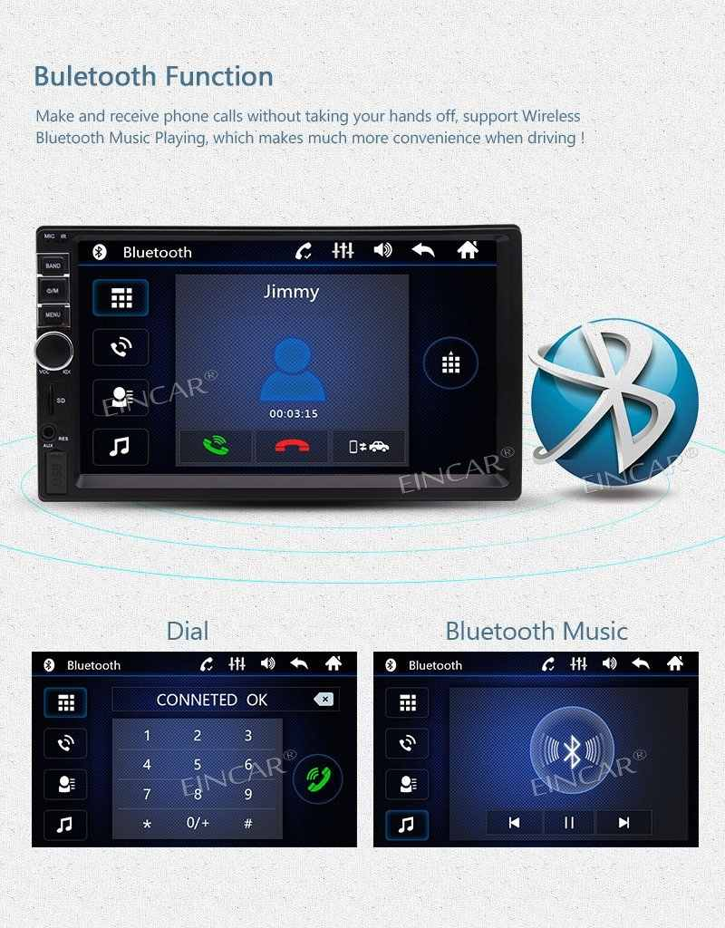 Eincar двойной дин стерео радио 7 ''автомобильный MP5 плеер в тире головное устройство FM радио Bluetooth TF карта USB AUX аудио с задней камерой