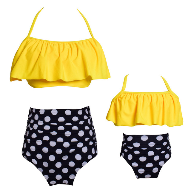 abc6b441ab US $15.8 |Yellow bikini top polka dot swimsuit with ruffles bikini mother  daughter bathing suits 2 pieces kids swimsuits for girl child-in Bikinis  Set ...