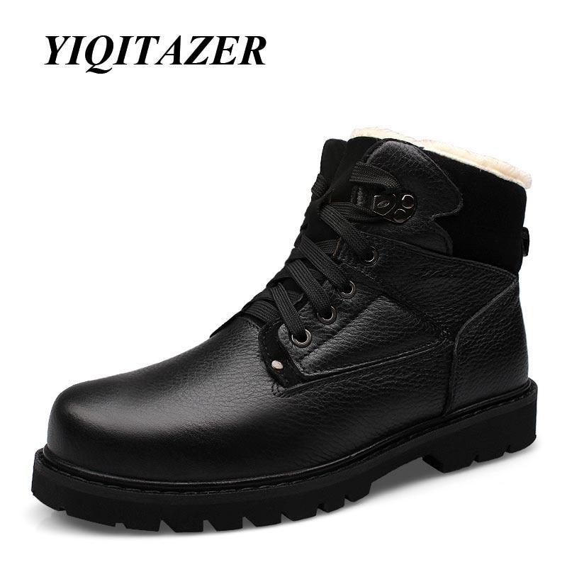 YIQITAZER 2018 Arm Boots Menn Sko Ekte Lær, Menn Militære Støvler Martin Cowboy Snow Boots Man Vintersko Plus Størrelse 47 48
