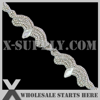 DHL Free Shipping Crystal Rhinestone Applique Bridal Trimming with Clear Rhinestone and Silver Beads,Custom Order Accept