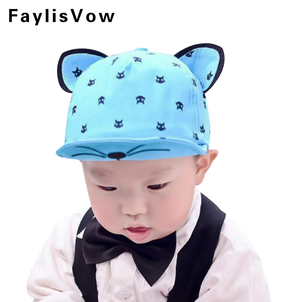 Baby Photography Accessories Spring Summer Baseball Cap Infant Unisex Visors Cat Embroid ...