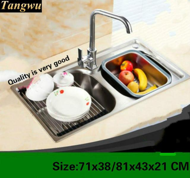 Tangwu more high quality 304 stainless steel kitchen sink double tangwu more high quality 304 stainless steel kitchen sink double groove drawing as a whole 71x38 workwithnaturefo