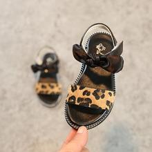 Детские леопардовые сандалии с бантом для маленьких девочек, детская летняя Свадебная обувь принцессы