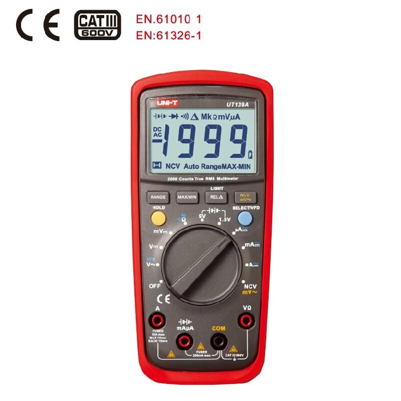 UNI-T UT139A True RMS Digital Multimeters AC DC Voltage and Current Auto Range test measurement true rms digital multimeters uni t ut139a ac dc voltage and current auto range handheld multimeter