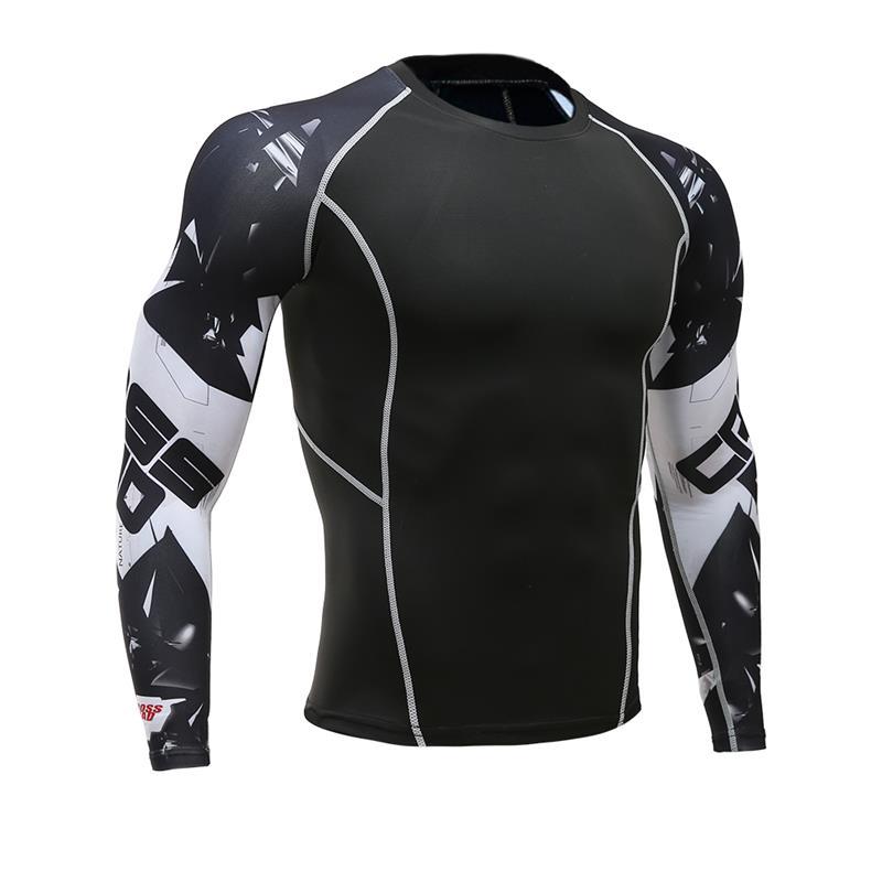 T-Shirt Sportswear Compression Rashgard Fitness Jogging Long-Sleeved Men Men's