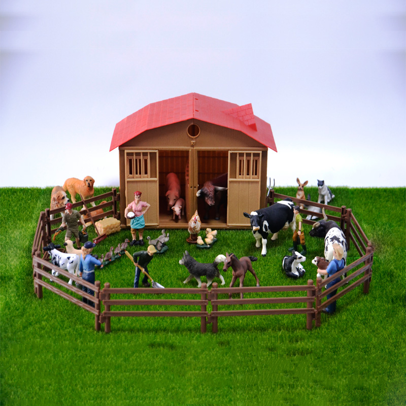 Original genuine farm house animals sets pets dogs horses pony cows sheeps chicken hen cat goose kids learning toy children gift image