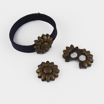 5 Sets Antique Bronze Sunflower Strong Magnetic Clasp Bracelet Findings For 5mm 10mm Flat Leather Cord