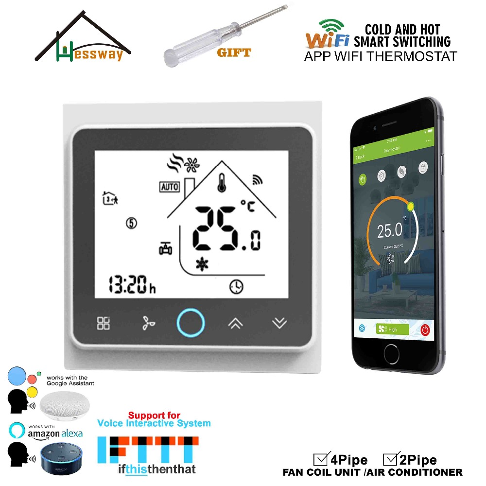 HESSWAY TUYA APP Smart Fan Coil WIFI Thermostat 24VAC For 4pipe 2Pipe Heat Cool Temp