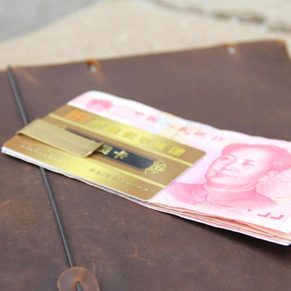 Mini abrazadera de Metal Unisex de acero inoxidable soporte de efectivo duradero billetera tarjeta de crédito Clip de dinero de almacenamiento de bolsillo Para latón Vintage