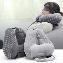 New Fashion U Shape Car Neck Pillows +Eye mask Plaid Waist Cushion Travel Pillow for Airplane Car Office sleep Home Neck Pillow цена в Москве и Питере