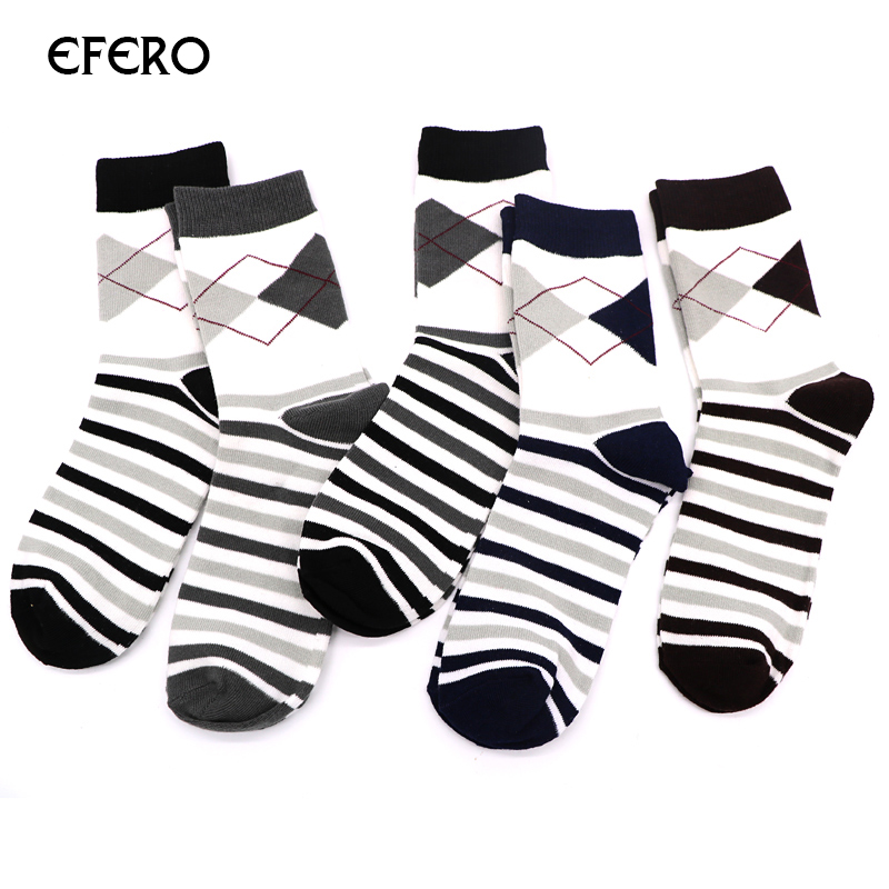 efero 1Pair Mens Socks Rhombus Stripe Short Ankle Socks for Men Dress Socks Fashion Business Ankle Sock Warm Meias Masculinas