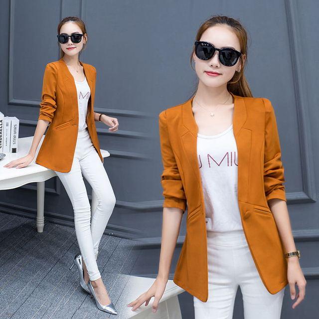 bb3d290fb7427 Women's Blazer slim new Korean fashion Female suits Blazers Hot Plus size  Slim one button O
