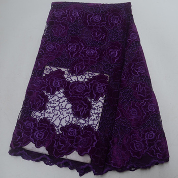 (5yards/pc) soft and smooth African velvet net lace fabric purple French lace fabric high quality for party dress  FLP939