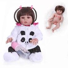 straight hair 48CM bebe doll reborn toddler doll girl in panda dress full body soft silicone realistic flexible baby bath toy