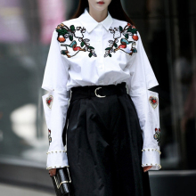 TWOTWINSTYLE 2017 Embroidery Blouses Women's Shirts White Hollow out Female Shirt Long Sleeve Tops Casual Clothes Korean Fashion