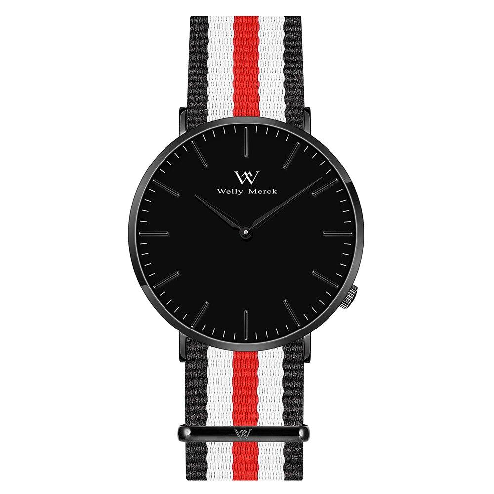 лучшая цена Welly Merck Men's Luxury Watch Minimalistic Design Quartz Movement Sapphire Crystal Analog Waterproof Wrist Watch with Nylon