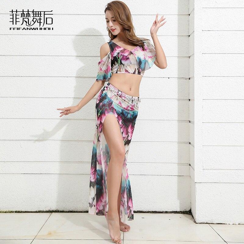 Bellydance Flower print Off-shoulder Sexy Belly dance Placketing Long skirt 2pcs set for women performance wears costumes FF9120