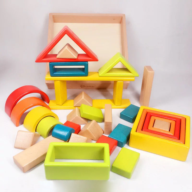 32 piece Kids Wooden Rainbow Stacking Blocks Educational Montessori ToysBaby Early Education Boys and Girls Gifts