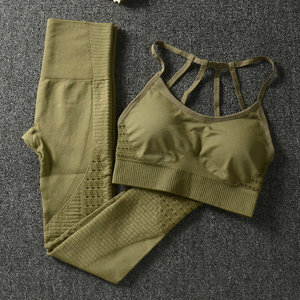 Image 2 - 24 色 2 ピース/セットスポーツスーツシームレスヨガセット女性のフィットネス衣類スポーツウェアジムレギンスプッシュアップパッド ストラップスポーツブラ
