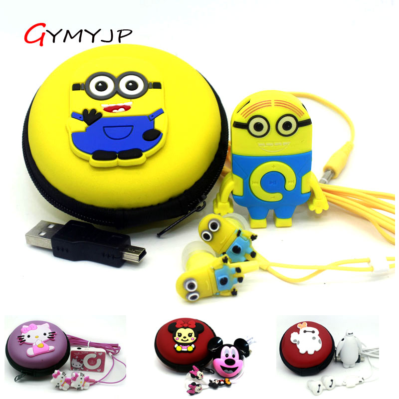 2017 New Despicable Me Minions Anime Sports MP3 Music Player With Earphone And Bag
