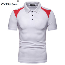 ZYFG free men polo shirt stitching turn-down collar short sleeve Polo simple casual breathable home male tops summer and spring