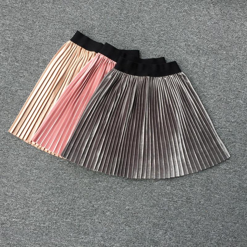 New velvet pleated skirt knee long girls skirt summer winter casual smooth skirt girl tutu high waist elastic pleated skirt 1