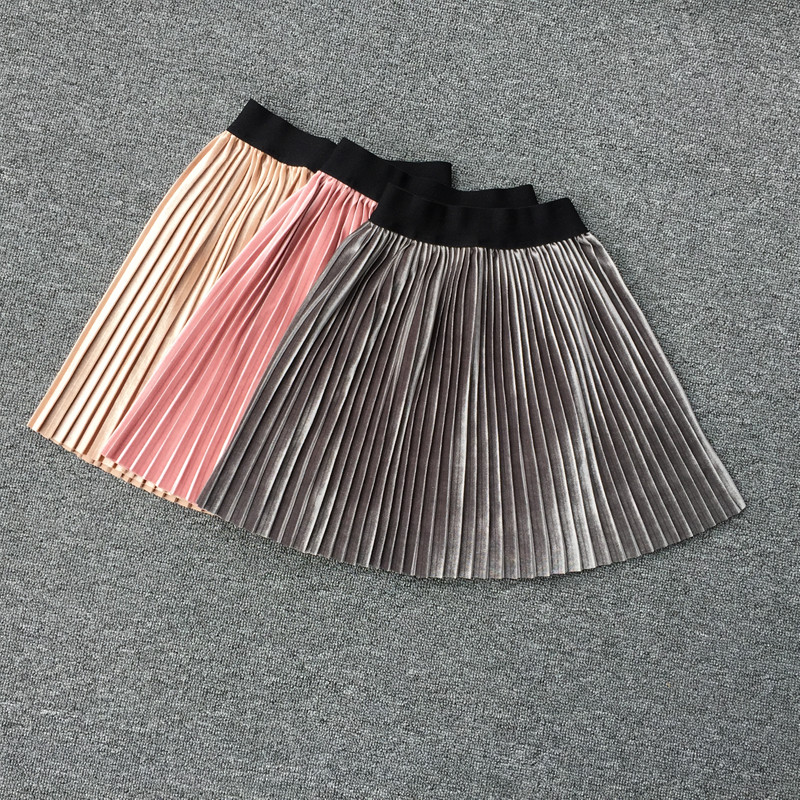 New velvet pleated skirt knee long girls skirt summer winter casual smooth skirt girl tutu high waist elastic pleated skirt high waist faux leather pleated skirt
