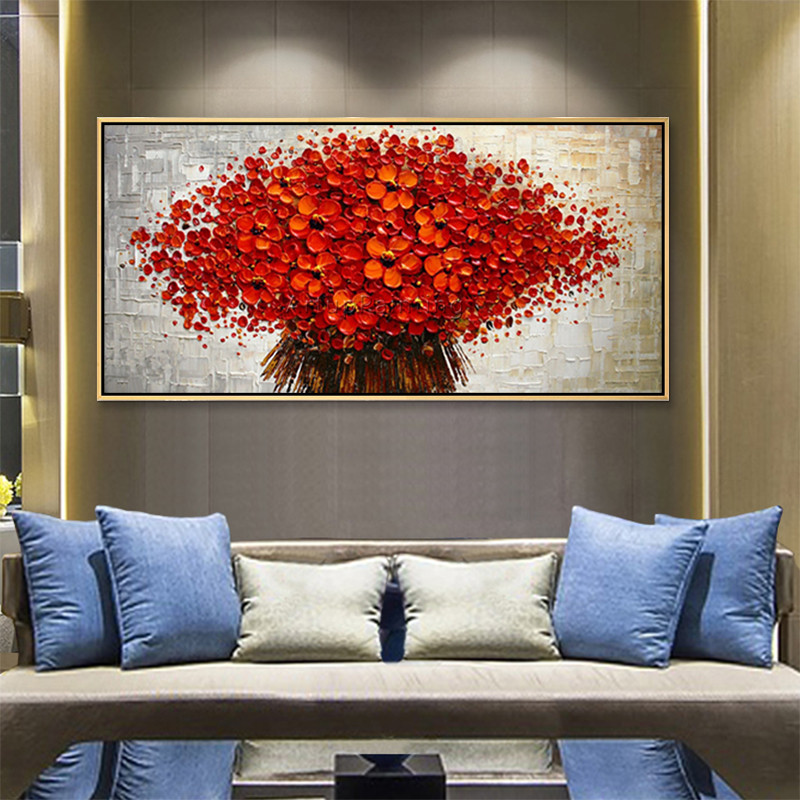 Canvas Painting palette knife 3D texture acrylic Flower painting Wall - Home Decor - Photo 2
