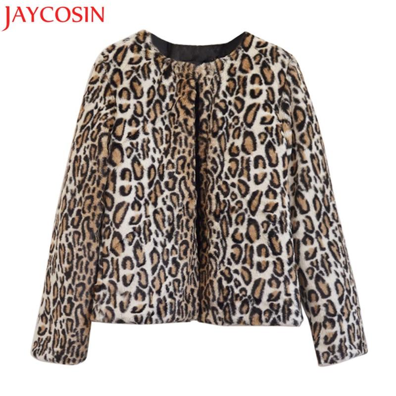 2017 Winter Women   basic     Jacket   Ladies Leopard Faux Fur Parka Warm Long sleeve   Jackets   Outwear O Neck Cardigans Bomber Coat NO3A