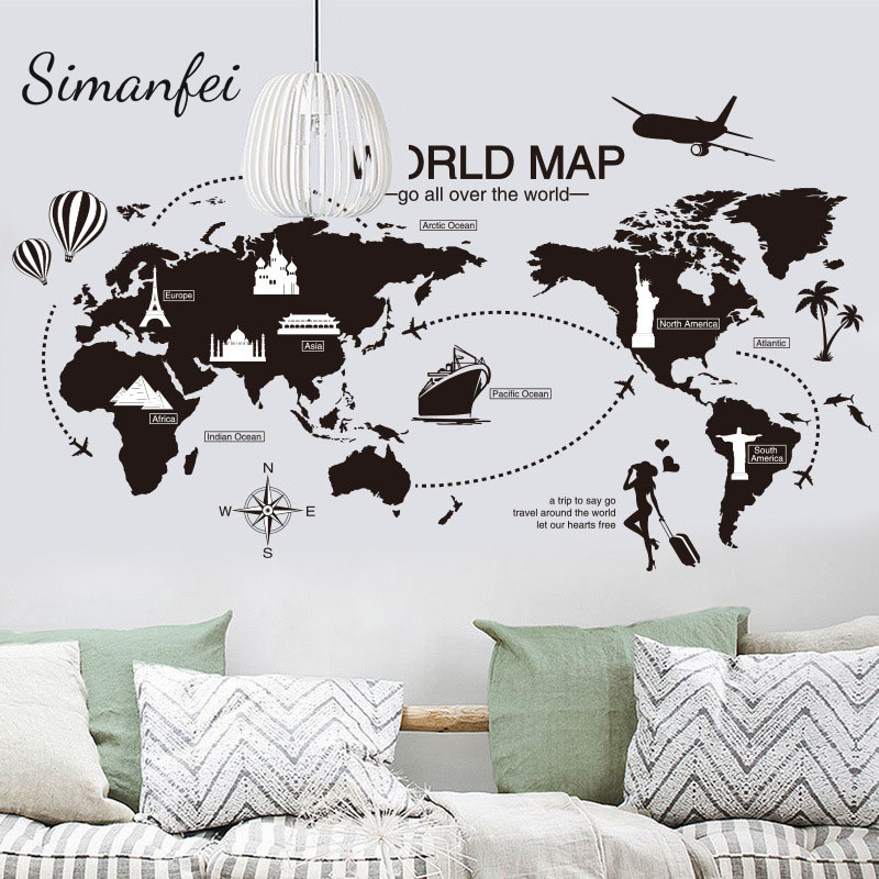 Simanfei world map wall sticker 2017 world travel view mural art simanfei world map wall sticker 2017 world travel view mural art for office bedroom decoration decals scratch maps black color in wall stickers from home gumiabroncs Images