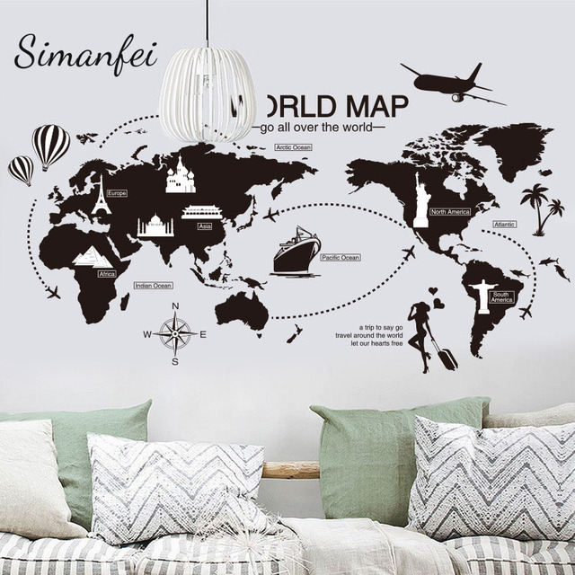 Simanfei world map wall sticker 2017 world travel view mural art for simanfei world map wall sticker 2017 world travel view mural art for office bedroom decoration decals gumiabroncs Image collections