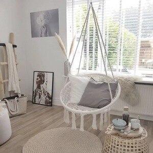 Image 2 - สไตล์นอร์ดิกรอบเปลญวนกลางแจ้งในร่มห้องนอนห้องนอนแขวนเก้าอี้สำหรับเด็กผู้ใหญ่แกว่งเดี่ยวความปลอดภัย Hammock สีขาว
