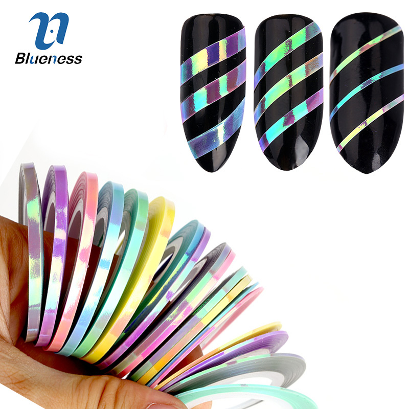 Blueness 3Pcs/6Pcs Nail Striping Tape Line Stickers Mermaid Candy Color Design Adhesive Nail Roll Decals For Manicure DIY Tools 10 color 20m rolls nail art uv gel tips striping tape line sticker diy decoration 03ik