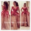 Кувейт Арабский Красный Вышитые Аппликации Бальное платье Cap Рукавом V Шеи Myraim Fares Знаменитости Платья