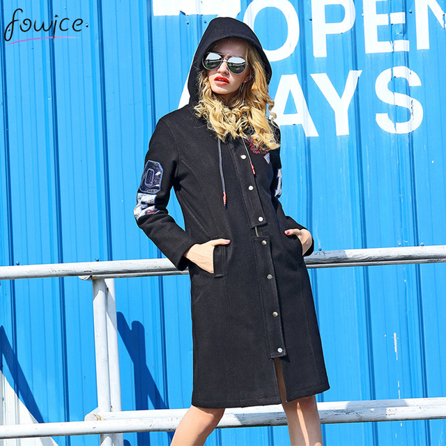 Высокое Качество 2016 Мода Осень Зима Женщины Капюшоном С Длинным Пальто Шанца Черный Однобортный Письмо Вышивка Пальто