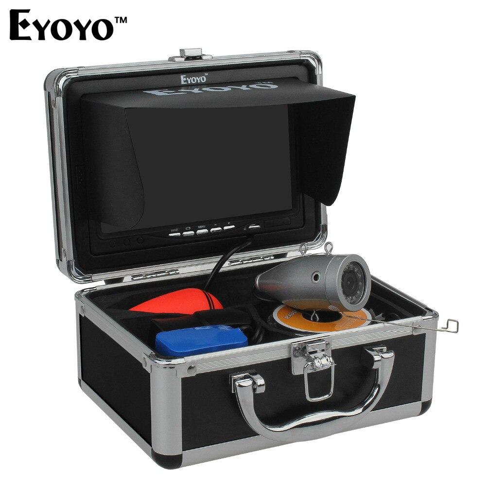 Eyoyo 30 m 1000TVL Full Silver Cámara subacuática para pesca 12 unids infrarrojos IR LED 7 pulgadas TFT Color LCD pantalla peces Finders