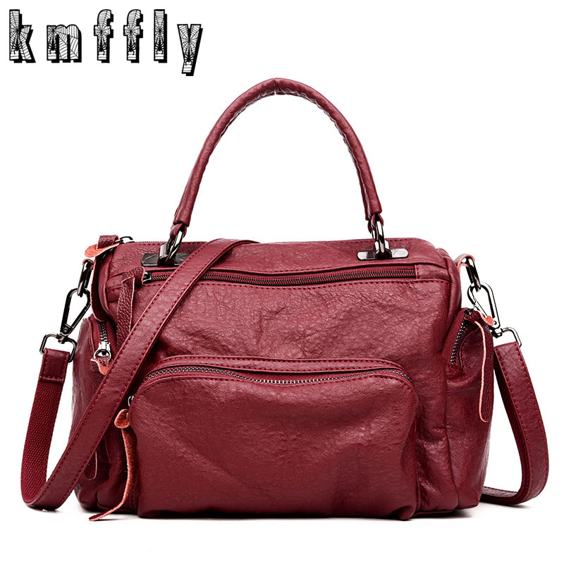 KMFFLY Vintage Bags Handbags Women Famous Brands Soft Sheepskin Leather Handbag Shoulder Bag Designer Luxury Top-Handle Bag Sac