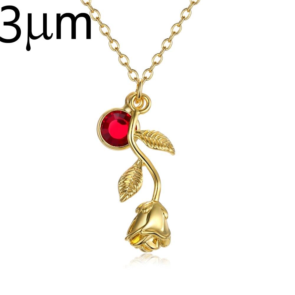 3D Rose Halskette gold farbe, personalisierte Birthstone charme Halskette Schluss Rose Blume Schönheit und das Biest Schmuck Frauen