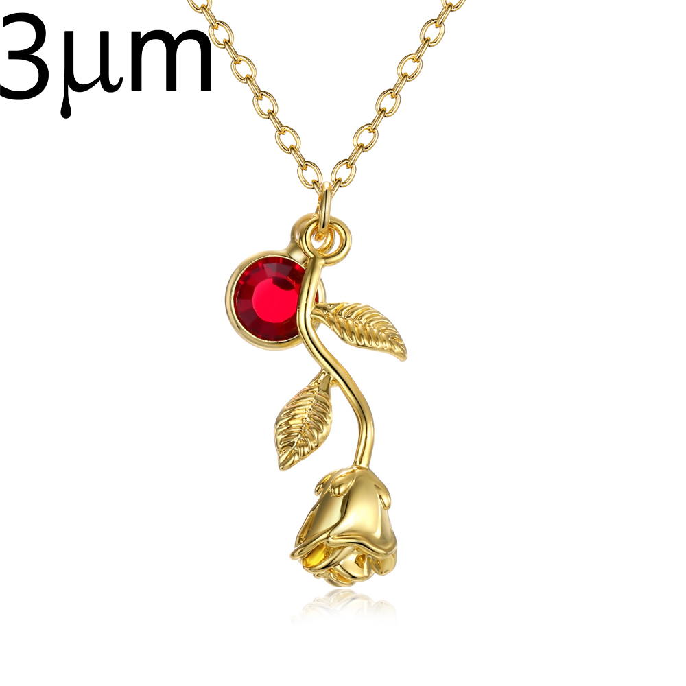 3D Rose Necklace gold color Personalized custom Birthstone charm Necklace Final Rose Flower Beauty and the Beast Jewelry Women