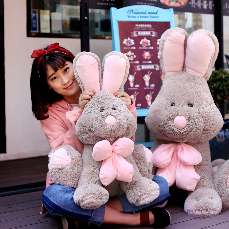 50/80/120 cm Cute American Big Rabbit Plush Stuffed Toy America Rabbit Animal With Long Ears Toys For Children's Day Gift 90cm large stuffed plush rabbit toy korea long arms rabbit soft doll super cute