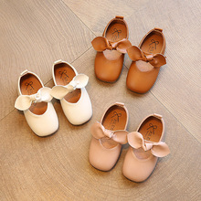 Girls Shoes Pu Leather Mary Janes Shoes For Baby Shoes Butterfly Girls Flats Soft Singe Shoes For Kids 1-9 Years Old cheap Butterfly-knot Slip-On Rubber