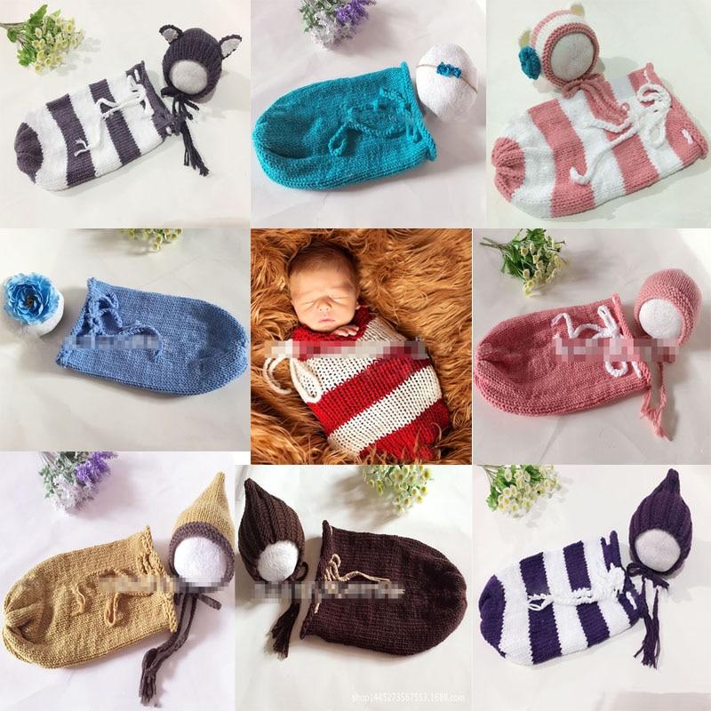 1Set nyfödda fotografier Wraps Swaddle Sack Propfotografi handgjorda - Babykläder