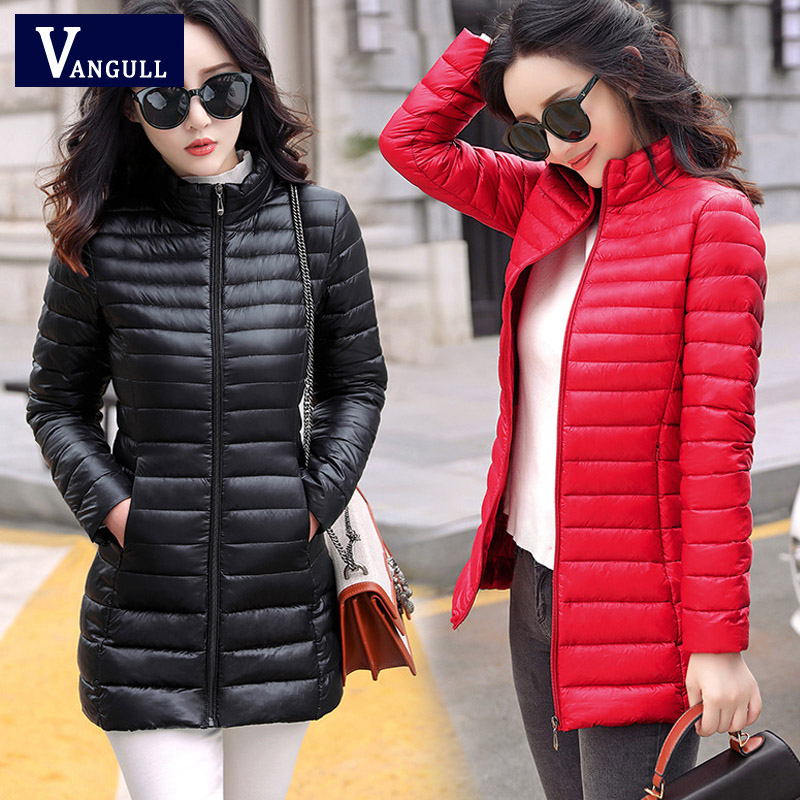 Vangull Autumn Winter Women Basic Jacket Coat Female Slim Hooded Brand Cotton   Parkas   Casual Female Medium-Long Jackets Plus Size