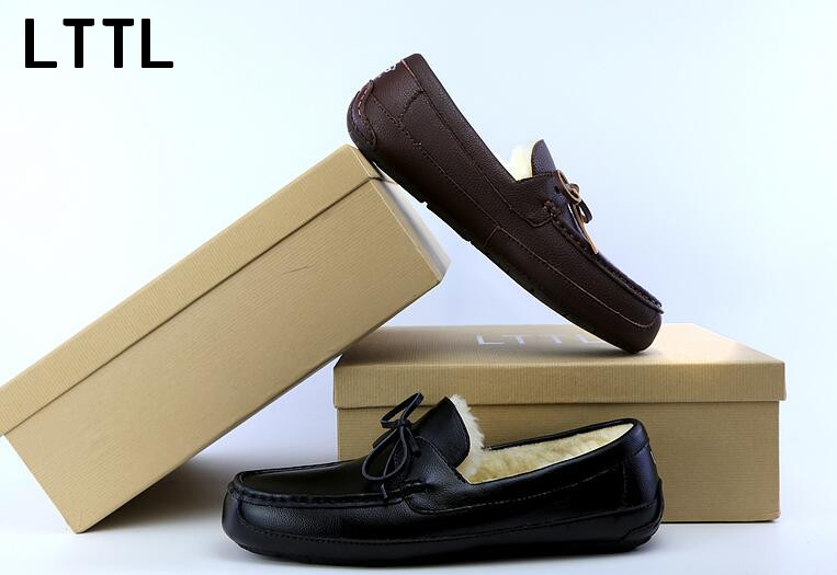 ФОТО LTTL men Winter loafers cross-tied sewing decoration lace-up breathable light butterfly-knot men warm boat shoes brown black