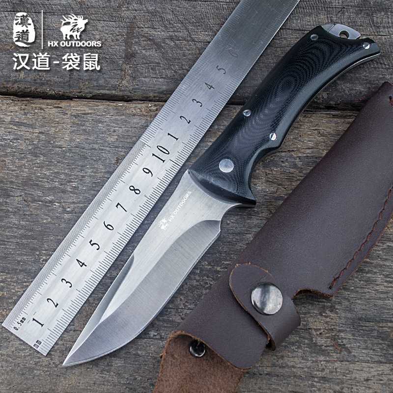 HX OUTDOORS Fixed Blade Knife Built-in Knife Design Camping Outdoor Knives With Leather Sheath Survival Hunting EDC Tools edc gear outdoor 6 slot design tool box with blade saw opener bar code sheet s carabiner