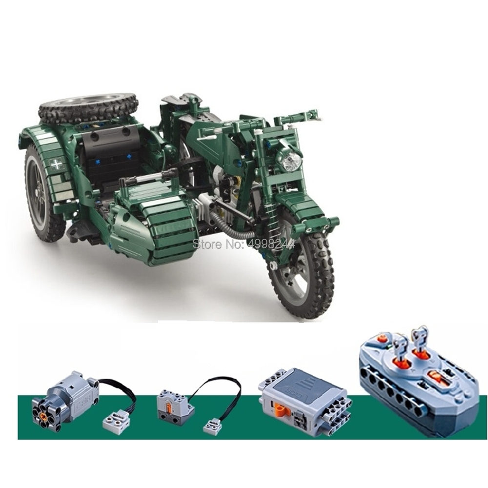 c51021 629pcs world war ii motorcycle technic military remote control rc building block Bricks Toy