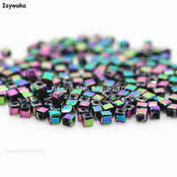 Isywaka 1980pcs Cube 2mm Purple Colorful Color Square Austria Crystal Bead Glass Beads Loose Spacer Bead
