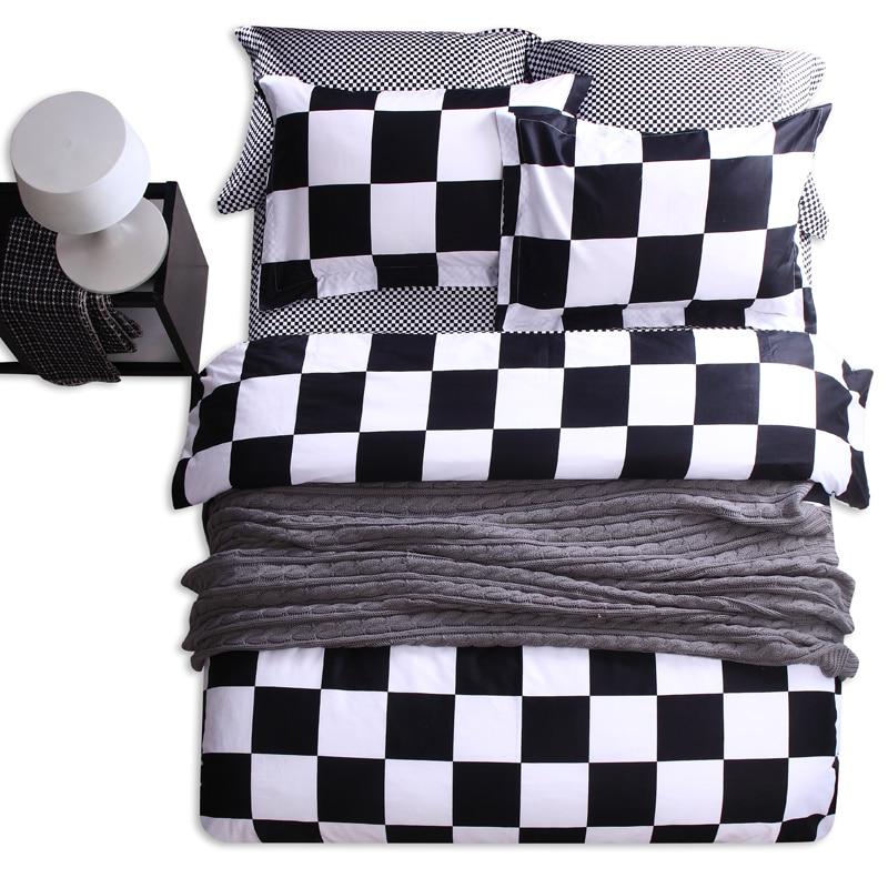 100% Cotton 4Pcs Queen Size Black White Plaid Diamond Star Bedding Sets  Kids Adults Bed Sheet Duvet Cover Sets,Bedroom Bedding In Bedding Sets From  Home ...
